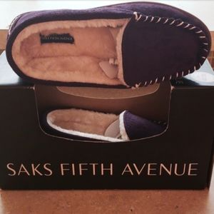 Saks Fifth Avenue suede slippers